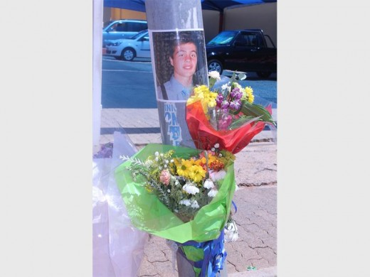 Flowers at the accident scene where Pieter-Schalk Globbelaar was involved in an accident with a bakkie.