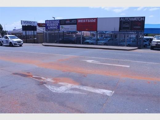 Sand remain behind on Luipaard Street following the motorcycle accident of Pieter-Schalk Grobbelaar.