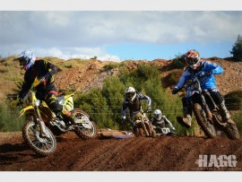 Racers at the Dirt Bronco Raceway for the SA Motocross Nationals in 2015. Photo: HAGG