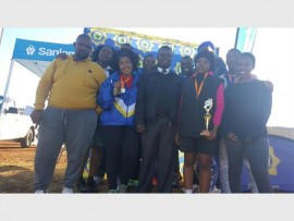 Brigadier Mashole Manamela with the netball winners. Photo: Submitted.