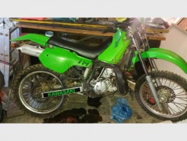 The stolen motorcycle recovered by Krugersdorp Police. Photo supplied.