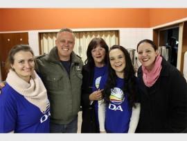 Jade Nelson, Quintin van Kerken, Lynnette Zwankhuisen, Zillah Wehinger-Maguire and Jessica van Kerken at the Tower of Life Shelter.