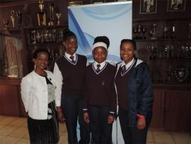 Grade 8 participants with Ms Molwantwa: Tisetso Senosha, Onneile Stone and Bianca Shole.