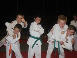 Danie Enslin, Paul van Gass, Otto van Eeden, Nico Pieterse and Ruben Basson, judokas from KJK  who won medals at the South African Primary Schools Judo Tournament.