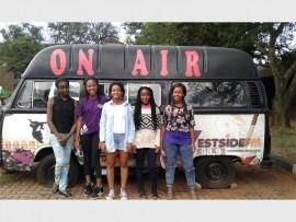 Jannas learners in front of Westside FM's broadcasting van. From the left – Miracle Shigange, Vanessa Shipalana, Joey Motholo, Thandekile Ndlovu and Nomhle Bambo.