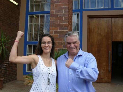 Alyssa van der Merwe, 2016 head girl, with KHS principal Ivan Bailey.