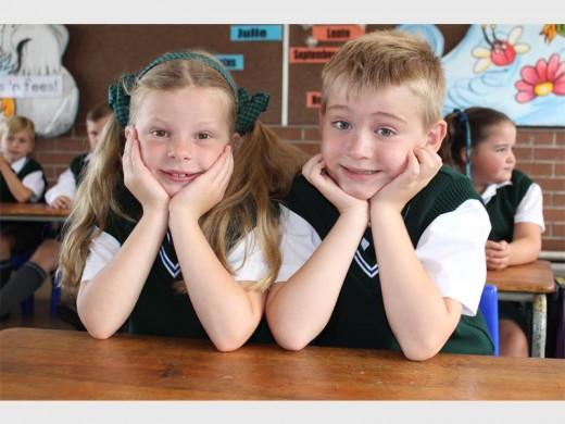 Janinke van Tonder en Reuven Aucamp is twee van Laerskool Krugersdorp-Noord se splinternuwe Graad 1-leerders.