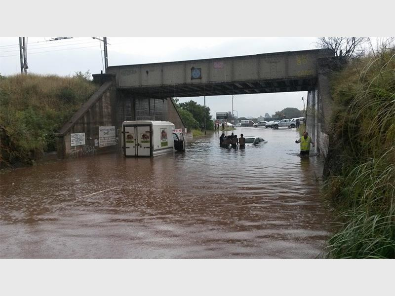 The 'weekend robot' intersection in Lewisham always floods during heavy rainfall. This picture was taken in March 2015. File pic.