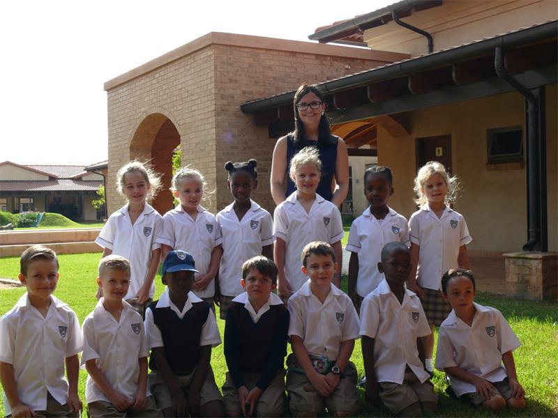 The new Grade 1 class, with their teacher, Roxanne Barnard.