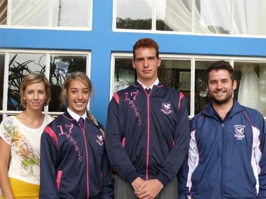 The new team captains, Jenna Brust and Kegan Hainsworth, with teachers Mariska Ewart and Willie Jansen van Rensburg.