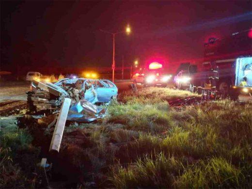 Serious road accident brings down a concrete light pole