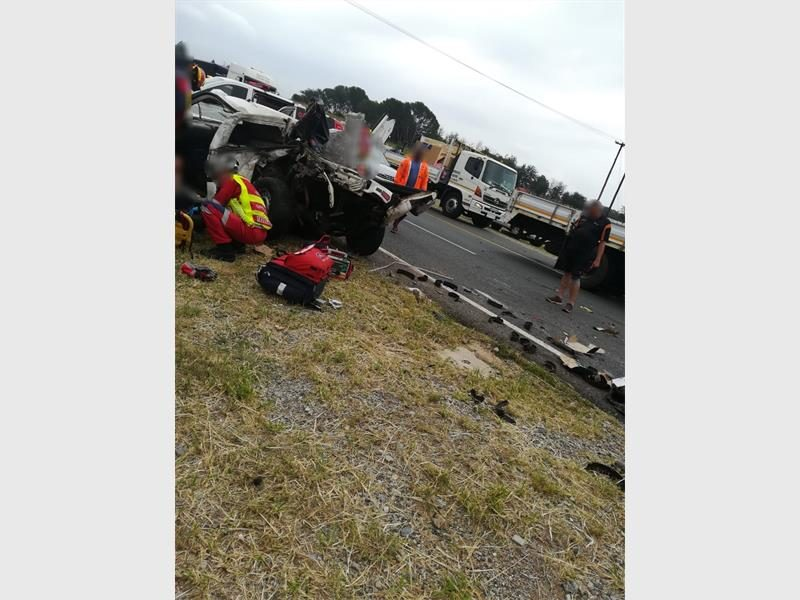 Three men involved in a serious bakkie rollover incident