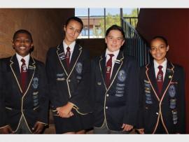 Deputy head boy Moagi Molefi, Head girl Kiara Loubser, Head boy Darian Pretorius and deputy head girl Leeshay Norman. Photo: Sonwabile Antonie