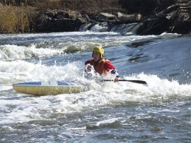 Peter Bailey at the Daleside Weir, during the FLCC 30km Klip River Race. Photo: Supplied