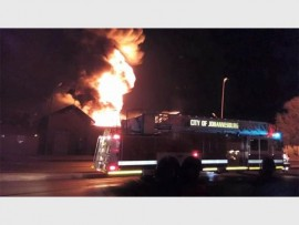 Bergbron substation on fire. Photo: Supplied