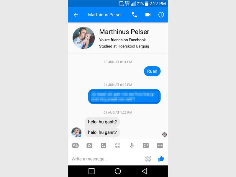 A screen grab of Marthinus Pelser's Facebook account, showing clearly that he was active on it on 1 August. (Photo: Supplied)