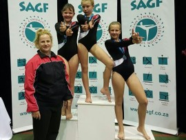 Coach Luitha Roux, Caela Truter, Huibrecht Groenewald and Nicole Swanepoel. Photo: Sonwabile Antonie
