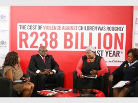 Save the Children CEO, Gugu Ndebele; Premier David Makhura; MEC Sizakele Nkosi-Malobane and Gauteng Police Commissioner, Deliwe de Lange discussing the report produced by Save the Children.