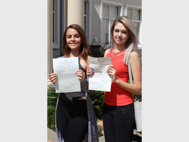 Britney Labuschagne and Lise Duffey from Hoërskool Florida both passed.