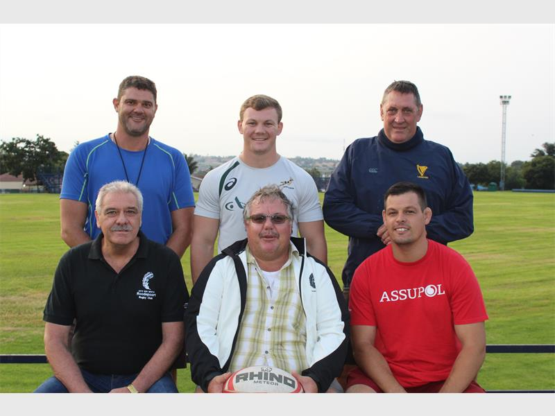 Back from left: Victor Volschenk (Coach), Kobus Porter (Coach) and Peet Reyneke (Director of Rugby). Front from left: Roxy Roux (President: Roodepoort Rugby Club), Michael Rieck (Committee member) and Adriaan Jacobs (Coach).