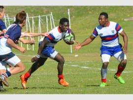 Craven Week player Tatendaishe Mujawo with ball in hand during St Benedict's  36-29 victory over St Stithians. The match was played on the Youth Day public holiday.