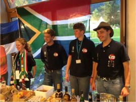 Michelle McNally, Rourke Hooper, Rubin van Jarsveld and Koos Fick at the international evening held during the Youngsters On The Air (YOTA) programme. Various teams tasted food and drinks brought by other teams during the evening.