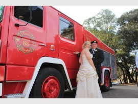 Firefighter Trevor Phillips married Hendra Cabula at South African Emergency Care (SAEC) in Modderfontein on Saturday, October 22. In April this year, Trevor went down on one knee to ask Hendra to marry him with a raging fire behind them. She accepted and the two decided to have their fireman-themed wedding in Modderfontein too, including their very own branded fire truck.