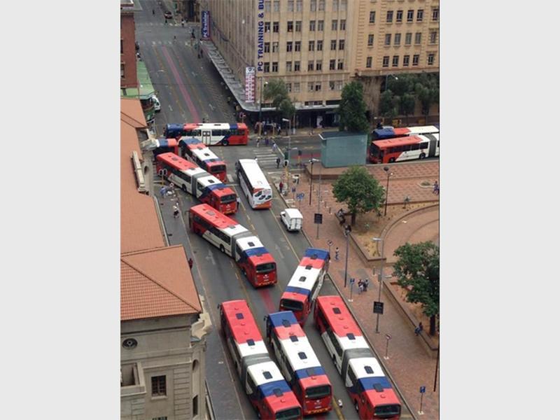 Parked Rea Vaya buses as drivers strike.Photo by Rashad Mia