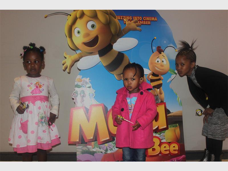 POUT: Lebo Maphanga with Rorisang and Lesego Moagi enjoy the movie experience.
