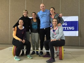 WOMAN POWER: Andrea Peak, Kerri Mailer-Carreira, Gaby De Gouveia, Joshua Capazorio (coach), Celeste Macintosh and Michelle de Jong at the Gauteng Weightlifting Provincial Championships.