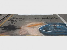 ART: The winner of the pavement art section of the festival was St John's with this submission.