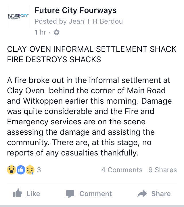 Fire destroys shacks in clay oven informal settlement fourways review a screenshot from the future citys fourways facebook page reheart Choice Image
