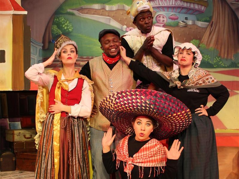 Photo: Supplied THE CLASSICS: The cast of the Story Book Theatre series, Sarah Malherbe, Andile Maqxaki, Yamikani Mahaka-Phiri, Kyra Green and Jaydene Marais (front) pose for a colourful snap.