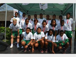 Banyana Banyana poses for a picture during the Olympics Day celebrations held in Boksburg, just before their departure to the All Africa Games in Brazzaville, Congo.