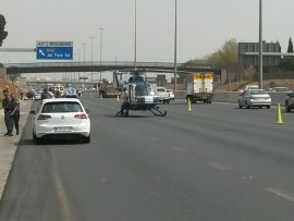 Three men were shot following a shoot-out on the N12 before the Jet Park turn-off. Photo: ER24
