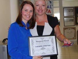 Davlynne Lidbetter with Lauren Sprout , public relations and marketing officer for Hirsch meadowdale.