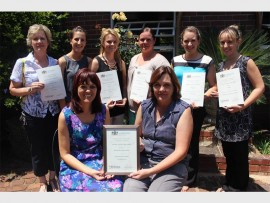 The Boksburg High School teachers who received Ekurhuleni South District Awards for best educators in their respective subjects. Back (from left) Alet Venter, Maxine Furnell, Michelle Cox, Margaret Breytenbach, Tracey Spencer and Rochelle Smith. Front: Ilana du Plessis and Jennie Giangregario.