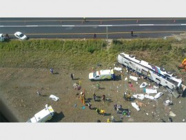 The accident scene where 10 people were killed when their bus overturned.