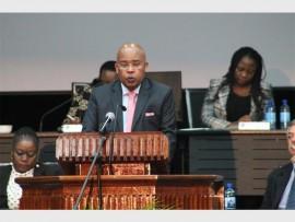 Ekurhuleni MMC for finance Moses Makwakwa delivers his budget speech..