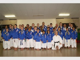 Students of JKA Bedfordview under the guidance of Sensei Rory O'Donoghue. In the front first on the left is Gina and in the middle row, second on the left, is Daniela.