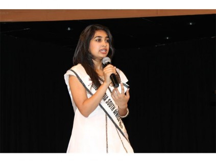 Miss India South Africa 2013, Gabriella Seekola, gives a talk at the Actonville Full Gospel Church, on Sunday, October 6.