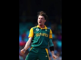 Proteas' strike bowler Dale Steyn celebrates after taking the wicket of Tillakaratne Dilshan. *Photo: Cricket South Africa Facebook Page.