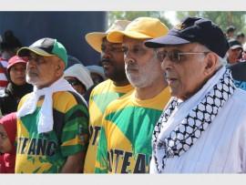 Clr Ebrahim Motara (left), Clr Samuel Ngobese, Clr Imtiaz Loonat and Ahmed Kathrada at the start of the walk.