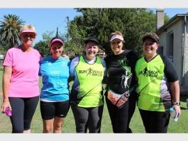 Belinda Forman (left), Jane van Niekerk, Belinda Noyzers, Charmaine Pivie and Trolle Kok are members of Run Walk for Life.