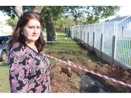 Clr Malanie Haggard (Ward 28) at a spot where the pipe along Cambridge Street, Farrarmere burst.