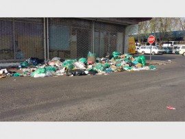Rubbish is piling up on just about every street corner in town due to the strike at the Brakpan Waste Management Depot. This photograph was taken on the corner of Station Road and Victoria Avenue.