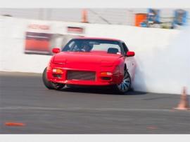 Robert Dyke drifting his Nissan 200 SX at The Rock Raceway, recently.