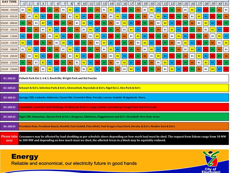 Ekurhuleni Amends Load Shedding Schedule Springs Advertiser