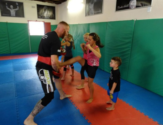 Alissa Gameiro practices kicking.