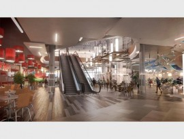 An artist's impression of the escalators inside the Springs Mall.